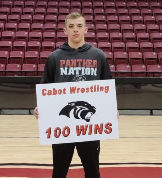 Cole Eason pictured after his 100th wrestling win